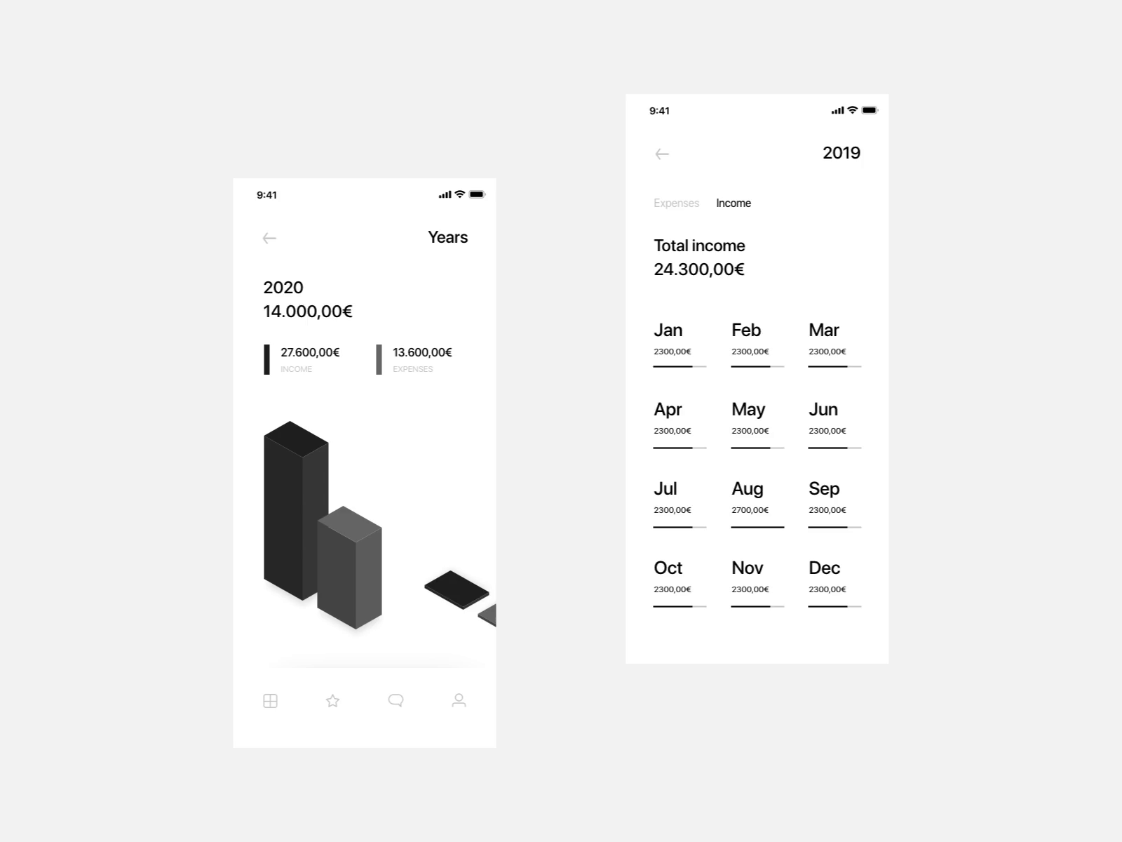 Banking App Data Visualisation Concept