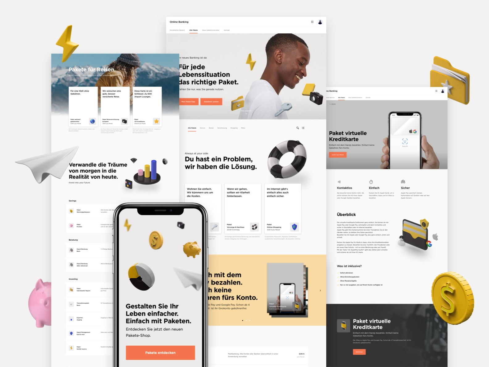 Fintech Landing Pages and Onboarding Concept