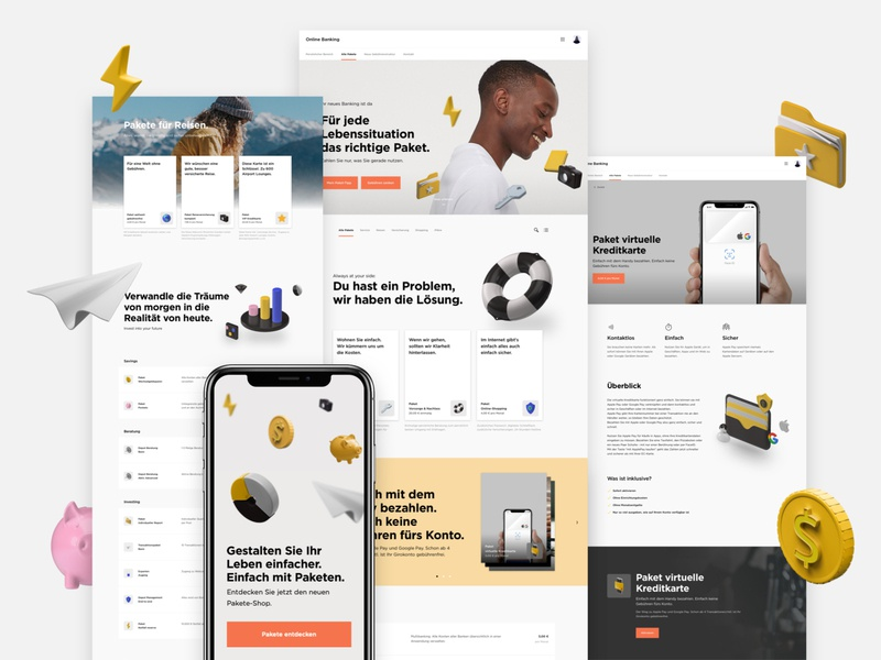 Fintech Landing Pages and Onboarding Concept kawai fintech landing page finance website 3d icons modules packages airplane flash pig coin folder banking mockup shadows iphone modal clean