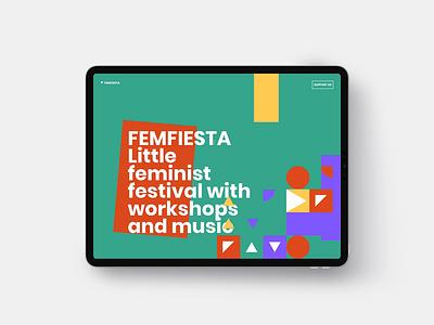FEMFIESTA Website ▼▼▼ interaction animation website branding logo scrolling ipad carousel photos yellow orange purple green festival little feminist shapes colors colours femfiesta