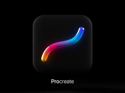 Procreate App Icon 3D Tilde Swoosh™️ app cgi stick rainbow black  white black glow icon procreate