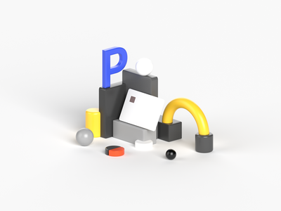 P as a Payment icon payment plastic card credit card card box grey yellow illustration isometric illustration composition isometric ball pipe cgi render letter ui design blue