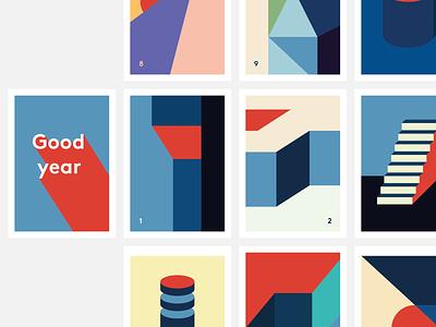 'Good year' 2021 Postcards Calendar postcard present for fun branding colour illustration geometric illustration abstract good new year 2021 resolution wallpaper geometric calendar blue red