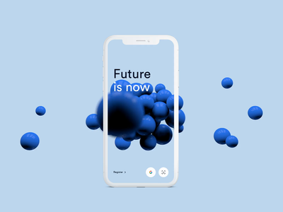 Future is now splash cinema render wow modern app minimal branding ui onboarding visualisation blue balls ballons cgi 3d cloud crypto now future