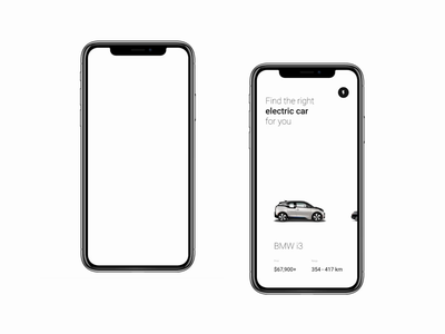 Electric Car for you App logo electricity gallery questionnaire colors horizontal scroll swipe flow grid bmw mercedes tesla minimalism black  white black app car automotive electric car electric