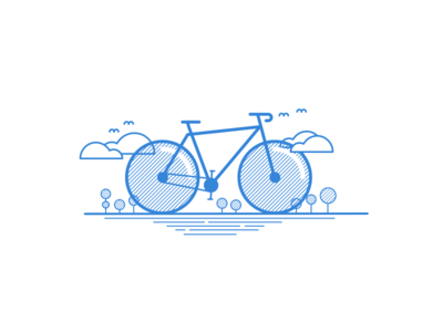 Bike illustration - Linear Study bicycle trees birds clouds linear lines blue illustration bike