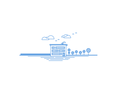 House illustration - Linear Study trees lines linear illustration clouds blue birds garden fence house