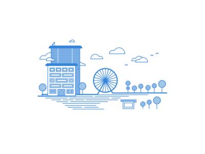 Ferris Wheel illustration - Linear Study tree trees lines linear illustration clouds blue birds house skyscraper wheel ferris