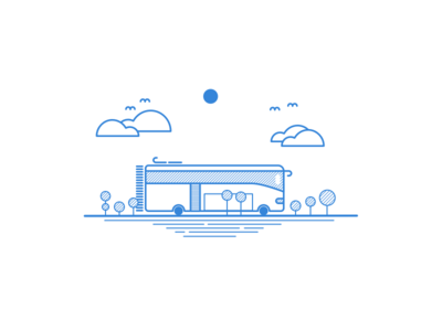 Small Bus Illustration - Linear Study autobus wheel tree travel road drive sun bus pattern line art cloud blue