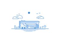 Double-decker Bus Illustration - Linear Study