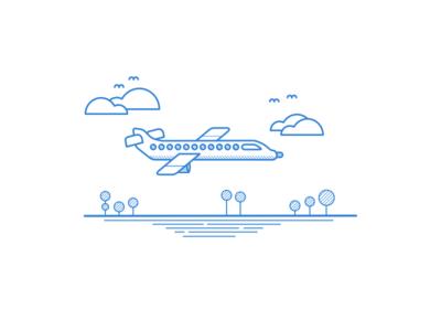 Aeroplane Illustration - Linear Study birds windows tree travel trees flight pattern line art landing cloud plane blue