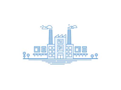 Web Factory Illustration - Linear Study creating responsive tablet web birds tree cloud outline building line art blue factory