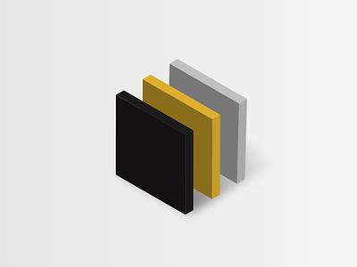 Abstract isometric data visualisation shadow visualisation squares shapes isometric grey black yellow data