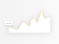 Abstract yellow line graph with shadow data visualisation
