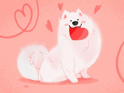Valentine Poodra cute animals art exited white romance cute procreate stepdraw love heart ipad pro valentines fluffy dog illustration