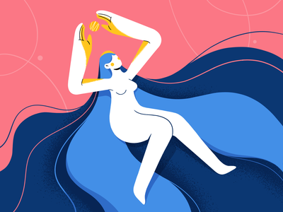 Inner power motivation naked float shape silhouette simple wave power energy ipadpro 2d hair girl stepdraw texture character design procreate color illustration