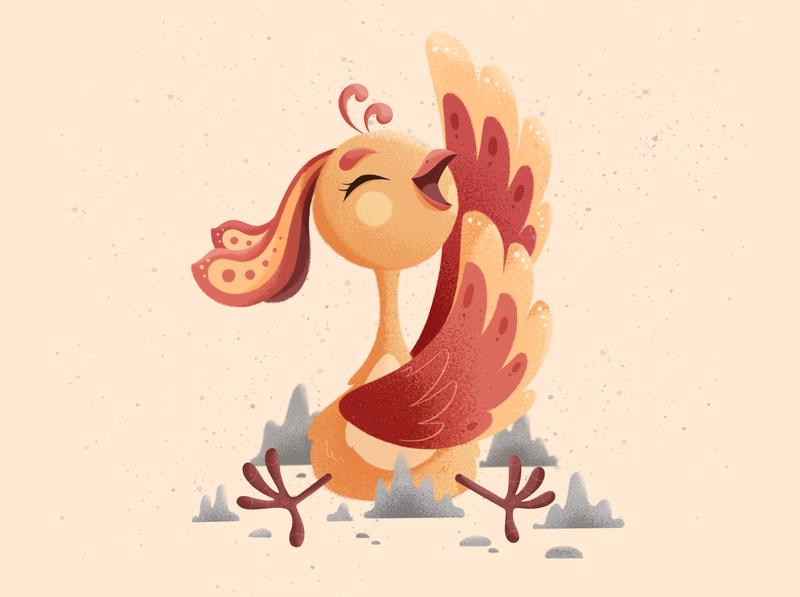 Little phoenix rise rebirth feathers 2d baby happy ashes bird phoenix ipadpro character design stepdraw texture procreate color illustration