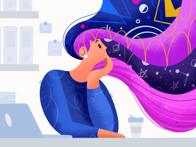 Day Dreaming work girl ipadpro daydream job procrastinate office abstract flat 2d stepdraw texture character design procreate color illustration