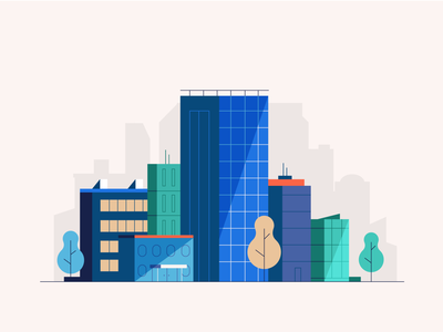 City view blocks view clean simple office skyscraper buildings city vector art stepdraw animation vector illustration