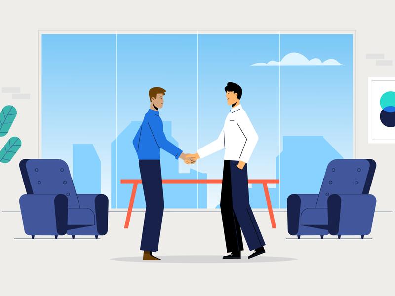 Partnership people meeting view interior stepdraw clean vector businessman chair falt 2d job partnership office business character design illustration