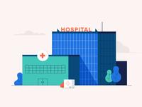 Healthcare modern medicine healthcare simple vector stepdraw first aid trees ambulance car building health hospital 2d color illustration