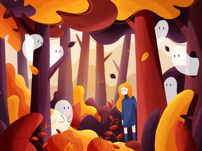 Halloween magic cute leaves pumpkins spooky magic ghosts halloween october autumn girl plants forest art 2d texture photoshop character design color illustration