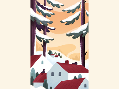 Snowy winter day snow magic holidays winter chill december cats sunset evening countryside trees houses plants forest art nature texture photoshop color illustration