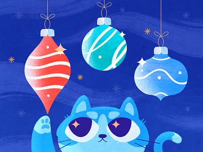 Christmas holiday magic illustration cute winter toys holiday decoration xmas kitten cat christmas texture procreate