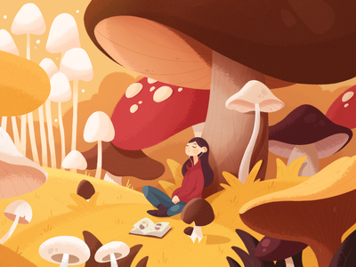 Mushroom Lo-fi relax magic dream study chill music vibe fall autumn girl mushrooms forest plants 2d texture photoshop character design color illustration