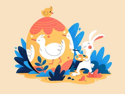 Easter 2021 ipadpro digital painter cute ducks easter bunny holiday easter egg easter plants texture procreate character design color illustration