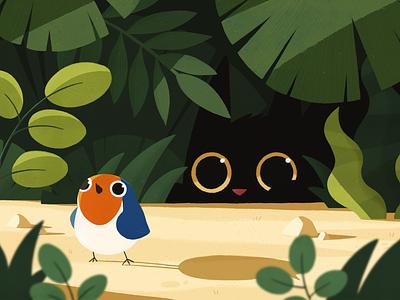 The Hunter wildlife prey cute cat bird animals plants nature photoshop texture color character design illustration