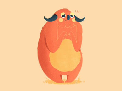 Berry digitalart friend shy story character monster procreate texture character design color illustration