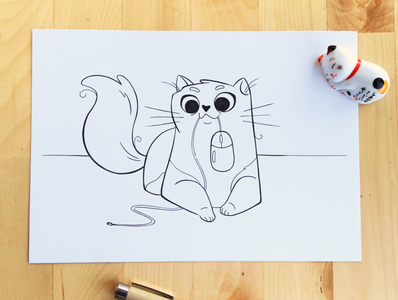 Inktober - Tasty october proud art mouse drawing sketch pens lineart cat inktober2019 inktober illustration