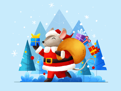 Christmas is here! snow winter forest new year holidays color santa cute fun simple character design character texture procreate ipadpro presents christmas mouse animals illustration