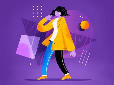 Purple mood move graphic design texture ipadpro shapes mood vibes people artwork flat procreate jacket character design color illustration