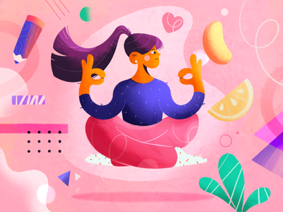 Meditation stepdraw joga chill relax girl character texture 2d candy pink ipad pro abstract meditation girl procreate character design color illustration
