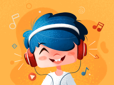 Morning tunes notes boy ipad 2d happy smile sound headphones vibes music texture art character design procreate color illustration