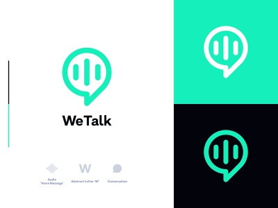 WeTalk technology modern audio message social media app call chat talk conversation brand design brand identity logotype minimalist logo branding minimalist logo