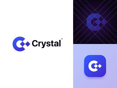 Crystal visual identity symbol icon c letter vector brand identity monogram branding minimalist logo