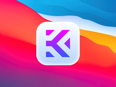 K - App icon visual identity letter k big sur app app icon logomark mark brand identity monogram logotype minimalist logo branding minimalist logo