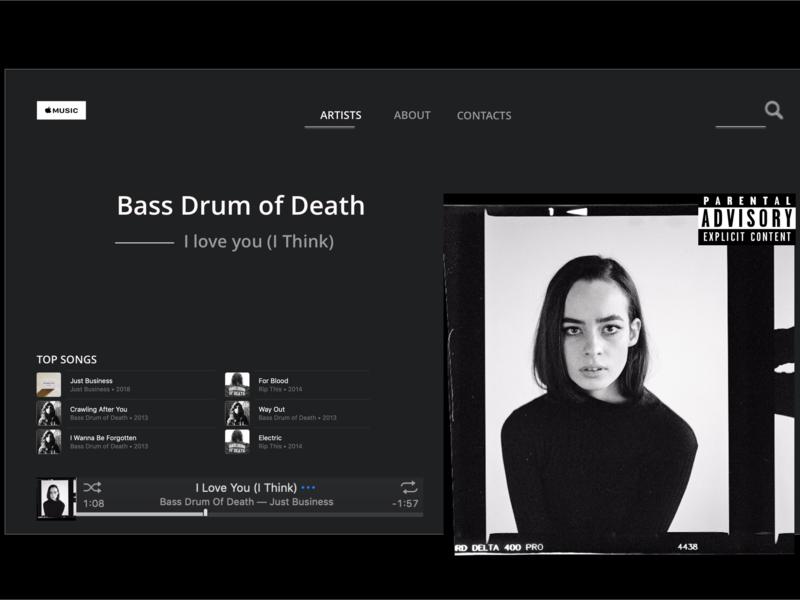 Bass Drum of Death digital creative landing page portfolio sketch media player music apple rock band concept website web ux ui design