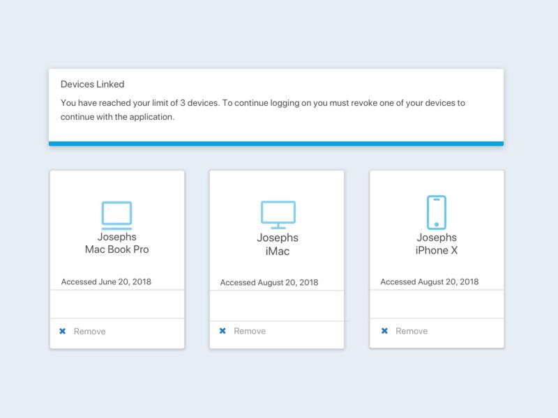 Revoke Devices Application web ux