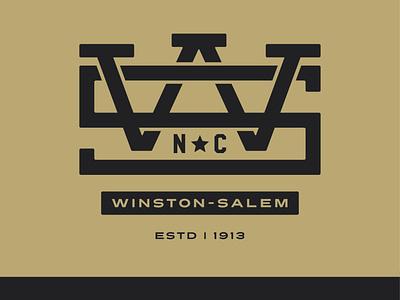 Winston-Salem NC Monogram graphic tee tshirt gold gold and black graphic wsnc nc north carolina illustrator badge logo winston-salem