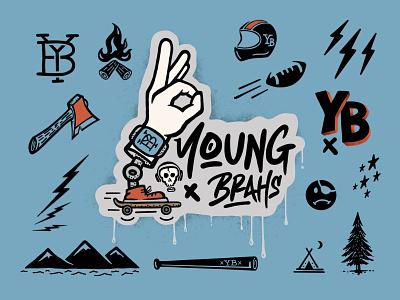 Young Brahs - Logo & Graphics Package social sports sport graphics adventure outdoors outdoor north carolina branding sticker procreate typography design badge illustration logo