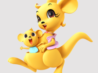 cartoon 3d kangaroo character for commercial