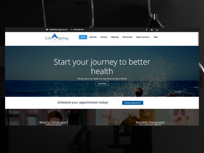 LifeSpringChiro.com elementor wordpress freelance designer personal website design website