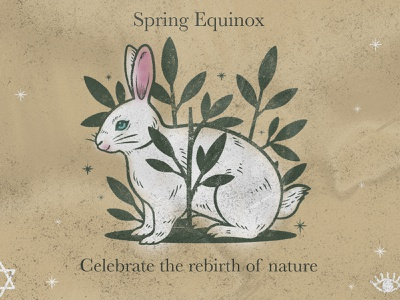 Pagan Holiday bunny rabbit easter equinox spring ritual wiccan witch holiday design illustration pagan