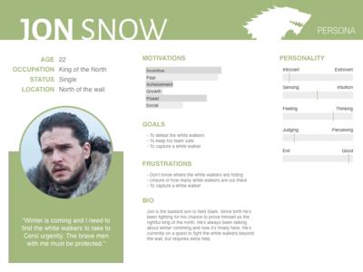 Jon Snow - Persona ui got game of thrones ux persona