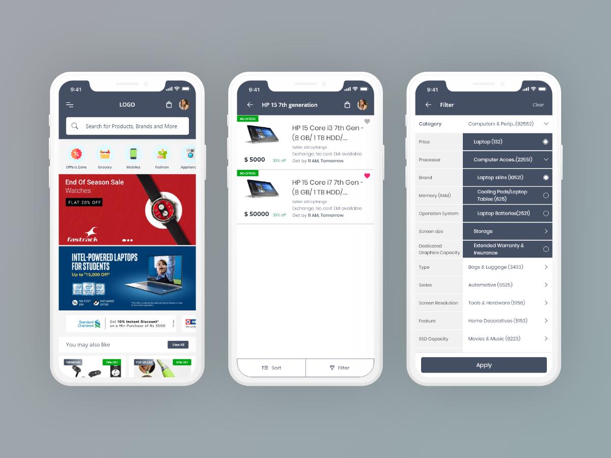 E-Commerce App user interface shopping app adobe xd landing page design app design ui design ui designer portfolio e-commerce app