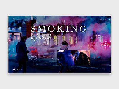 Smoking World - Official Movie landing page design web art ui illustration interface design webdeisgn